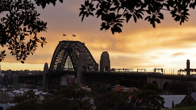 Sydney sunset of the city Observatory Hill
